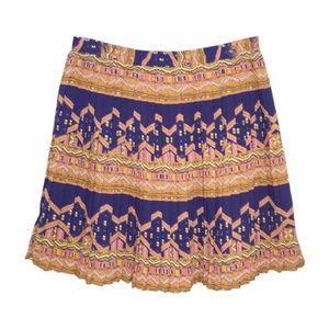 Anthropologie L Recurring Theme Skirt Pleated Edme